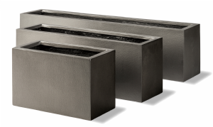 Geo window Box Grey Window Box in Faux lead or Aluminium Finish From potstore.co.uk